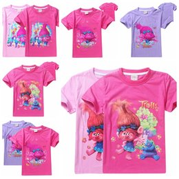 Wholesale Boys Choice - Trolls T-shirts for Girls Tops Summer Short Sleeve Shirt Children Ruffle Raglan Shirts 8 Choices free shipping in stock
