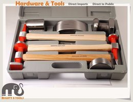 Wholesale Dent Hammer - 7pc Expert Quality Car Body Dent Repair Kit Dolly Panel Beat Hickory Handle Hammers