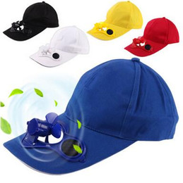 Wholesale Wholesale Yellow Baseball Caps - Solar Power Cap Suntan Hat Cooling Cool Fan For Sport Peaked Caps Outdoor Golf Baseball Fishing Snapbacks Baseball Hats CCA6549 100pcs