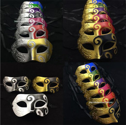 Wholesale venetian masquerade masks for men - Blue Patchwork Half Face Mask Halloween Masquerade Masks Venetian Dance Party Mask For Men snd Women masks I055