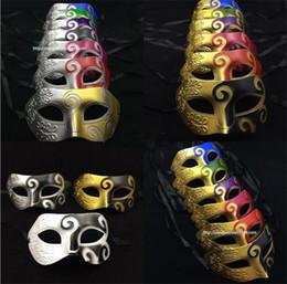 Wholesale half face dance mask - Blue Patchwork Half Face Mask Halloween Masquerade Masks Venetian Dance Party Mask For Men snd Women masks I055
