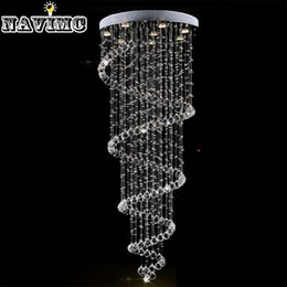 Wholesale Modern Crystal Pendant Lamp Spiral - Modern K9 Large LED Spiral Living Room Crystal Chandeliers Lighting Fixture for Staircase Stair Lamp Showcase Bedroom Hotel Hall