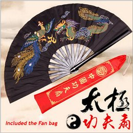 "Wholesale Dragon Fans - 13""Chinese Dragon Frame Tai Chi Martial Arts Kung Fu Bamboo Fan Black Dance Pratice Folding"