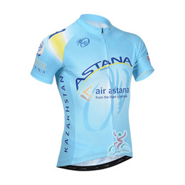 Wholesale Astana Cycling Clothes - 2017 Team ASTANA Cycling Jersey Breathable 100% Polyester bicycle shirt maillot Ropa Ciclismo mtb bike Cycle clothing B2205