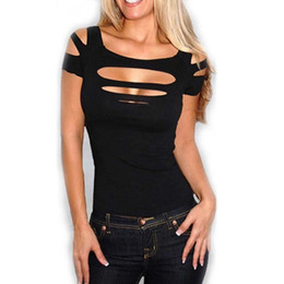 Wholesale Cut Shirt Styles - Wholesale-Fashion Summer Style Womens Sexy Ripped Slashed Black Tight T Shirt Women Tops Clubwear Cut Out Tee Club Punk Rave