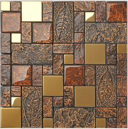 Wholesale Glass Mosaic Wall Design - Rustic gray resin mix metal tiles design, mixed glass kitchen backsplash wall tiles,Vintage mosaic building materials,three colors,LSRN11