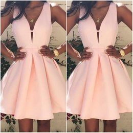 Wholesale Short Cocktail Dresses Sale - 2017 Hot Sale Pink Short Cocktail Dresses V neck Backless Stain Mini Stain Ruffles Prom Party Dress Custom Made Special Occasion Gowns