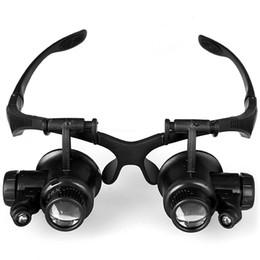 Bandeau Loupe 9892GJ 10X 15X 20X 25X Montre Loupe de Réparation avec 2 LED Lumières Gauche et Droite Double Eye Patches Support Livraison gratuite + B ? partir de fabricateur