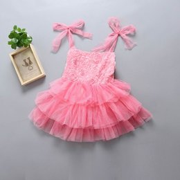Wholesale Organza Rose Bow - 2017 Summer New Girl Dresses Rose Lace Flower Tiered Tulle Slip Dress Children Clothing 2-6Y 1741