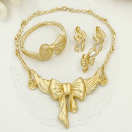 Wholesale Gold 24k Wedding Set - 24K Romantic Bride Wedding Jewelry Sets Dubai Gold Plated Jewelry African Necklace earrings set Charming golden bow jewellery