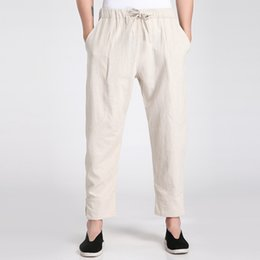Wholesale new kung fu - Wholesale- Chinese Men's Cotton Linen Kung Fu Pants 2017 New Style Elastic Waist Leisure Wu Shu Trousers S M L XL XXL XXXL 2606-1