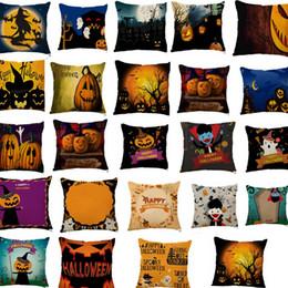 Wholesale Print Design Throw Pillows - Halloween Pumpkin Linen Throw Pillow Case Cushion Cover Home Sofa Décor Pillow Case Cushion Cover 45*45cm 38 design LJJK749
