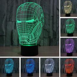Wholesale Masks Art - New Marvel Avengers Lamp 3D Art Iron Man Mask Night Light Superhero illusion Mood Lampe for Kids Friends Dad Creative Baby Child Toy Gifts
