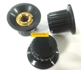 Wholesale Potentiometer Knob Black - Wholesale- 10pcs lot Free shipping Quality black hat type lock screw potentiometer knob 6MM aperture 25*19 copper core for 6MM diameter sha