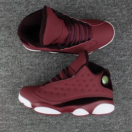 Wholesale Rubber Wine Corks - New with box 13 XIII OG low Wine red white black velvet Men Basketball Shoes Sports Sneakers high quality Wholesale Trainers Size 8-13