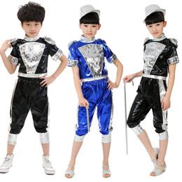 Wholesale Stripe Belly - Gorgeous Children Boys Girls Jazz Dance Costumes Hip Hop Dance Wear Kids Stage Performance Ballroom Dance Clothes