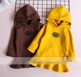 Wholesale Lotus Leaf Long Sleeve - 2017 Children Hoodies letters Hem Lotus leaf flannelette Long Sleeve Sweatshirts 318876