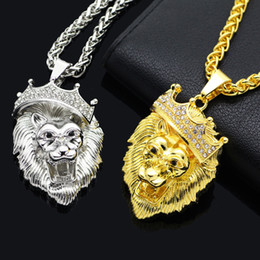 Wholesale Lion Silver Necklace - SAYYID new brand European and American street hip hop rock gold necklace fashion exaggerated crown lion head pendant necklace in stock