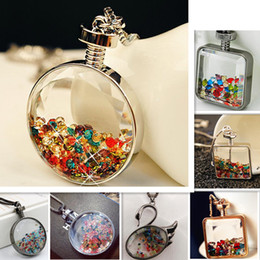 Wholesale Glass Animal Vials - 2017 New Perfume Vials Bottle Pendant Necklace Colorful Crystal Glass Bottle Necklace Jewelry for Women Wish Gift