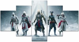 Wholesale Game Posters - 5 Pieces Assassin's Creed Unity Games poster Decor Prints Realistic Oil Painting Printed(No Frame)