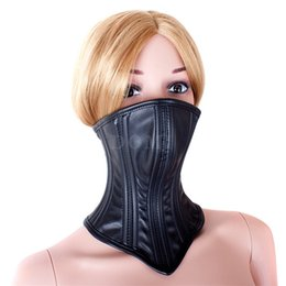 Wholesale Half Face Sex Mask - Beautiful Good Quality PU Leather Restraint Bondage Half Face Mask Neck Collar Sex Products