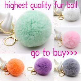 Wholesale Real Gold Rings Man - Real Rabbit Fur Ball Keychain Soft Fur Ball Lovely Gold Metal Key Chains Ball Pom Poms Plush Keychain Car Keyring Bag Pendant Key Ring Toy