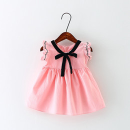 Wholesale Sundresses For Kids - 2017 Summer Baby Kids Girls's Dress Bow Sundress Cotton Printed Kids Girl's Dresses Solid Color for 0-3 Years Old 4pcs set
