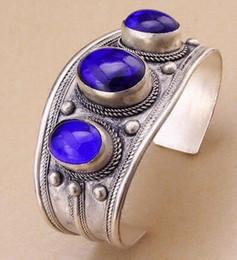 Wholesale Oval Lapis Beads - Unisex Vintage Oval Lapis Lazuli Stone Bead Cuff Bracelet Bangle Tibet Silver