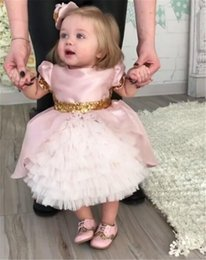 Wholesale Cute Babies Photo Pink - Pink cute baby girls birthday gown with sequined bow flower girl dresses baby party frocks girls baptism gown Custom