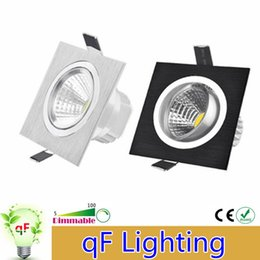 Wholesale Led Plafond - Dimmable LED Downlight 3w 5w 7w 110V 220V Square COB Led Ceiling Recessed Plafond Dimming LED Spot Light Indoor Light