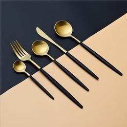 Wholesale Coffe Sets - Stainless Steel Cutlery Gold Flatware Set Tableware Dinnerware 1 Dinner Knife + 1 Coffe Soup Middle Spoon + 1 Fork