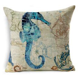 Wholesale Cushion Starfish - Vintage Marine Cushion Cover Creatures Starfish Tuna Retro Style Home Decorative Pillows Cover for Sofa Marine Organism Pillow Case