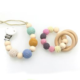 Wholesale Crochet Nursing Toys Wholesale - Wholesale-wholesale 15sets nursing toy set pastel Natural Baby pacifier clip a Dummy holder Crochet wooden beaded new mommy gift NT129