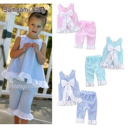 Wholesale Grid Girl Outfits - INS Baby Grid Set Kids Girl Lattice Outfits Petals Side Big Bow Vest +Pants 2 pcs Set Baby Clothes 3 Colors Free Shipping