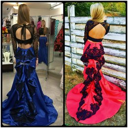 Wholesale Pictures Crops - Two Piece Mermaid Prom Dresses Lace Crop Top Sexy Backless Satin Mermaid Party Dresses Royal Blue Red Black Long Sleeves Homecoming Dresses