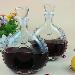 Wholesale Glass Wine Decanters - 1PC Glass Bottles Red Wine Whiskey Decanter Set Magic Decanter Wine Glass Sobering Device Quality Bar Set J1089