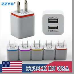 Wholesale Smart Dock - ZZYD Portable 5V 2.1+1A Dual USB AC Travel US Wall Charger Plug For Samsung Galaxy S8 HTC Smart Phone Adapter