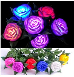 Wholesale Flowers Batteries Lights - 6 color Wedding LED Rose Flower Night Light toy LED Flower valentine gift Rose electronic LED Light Rose Wedding decoration