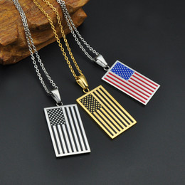 Wholesale Necklace Men Dog Tags - Fashion American Flag Patriot Freedom Stars and Stripes Dog Tag Pendant Necklace Men Women Jewelry Gifts Gold Color Stainless Steel Necklace