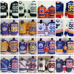 Wholesale St Louis Hockey Jerseys - Heroes Of Hockey Wayne Gretzky Throwback Jerseys NO.99 Edmonton Oiler St. Louis Blues Rangers LA Kings Vintage Mens Hockey Jerseys C Patch