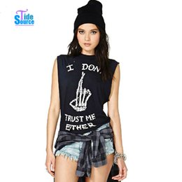 Wholesale Loose Skull Shirts - Wholesale- TideSource New 2016 Fashion Summer Casual Loose T Shirts Punk Style Letters and Skull Finger Printed T-Shirt Women Tops Tees