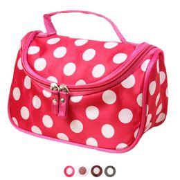 Косметические сумки полька-точка онлайн-Wholesale- Xiniu Cosmetic bag Women 4 Color Polka Dot Flip Double Zipper Ladies Hand Bags makeup bag organizer maleta de maquiagem#0