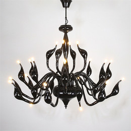 Wholesale black swan blue - 9 12 15 18 24 heads Swan Pendant Light Swan Chandeliers Lighting Fixtures Black White Red Silver Gold Modern Wrought Iron Pendant Lamps
