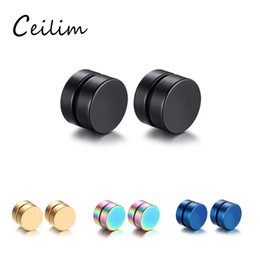 Wholesale Boyfriend Christmas Gifts - New Fashion 8mm Round Magnet Magnetic Ear Clip Non Piercing Black & Gold Stud Earrings for Boyfriend Lover Polishing Stainless Steel Jewelry