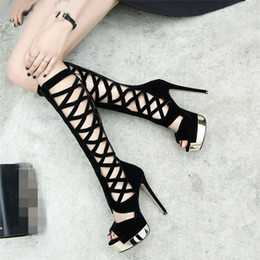 Wholesale Toe Night Club - Sexy hollow out knee long gladiator boots fashion party night club peep toe high heels platform shoes
