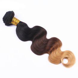 Wholesale human hair wholesale companies - 7A grade Peruvian human Hair Body Wave #1B 4 27 Ombre Human Hair Extensions 3 4 Bundle best Hair Company