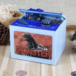 Wholesale Animal Stole - Stealing Godzilla Coin Bank Money Saving Box Piggy Bank Funny Cute Hungry Robotic Dinosaur Piggy Bank Creative Gift For Kids