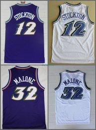 Wholesale Basketball Jersey Material - Men Retro 32 Karl Malone Jersey Uniform Rev 30 New Material 12 John Stockton Throwback Shirt Breathable Home Alternate Purple White