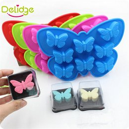 Wholesale Butterfly Candy Mold - Delidge 10 pc 8 Holes 3D Butterfly Shaped Cake Mold Silicone Candy Chocolate Ice Mould Handmade Baking making Mold Candy Color