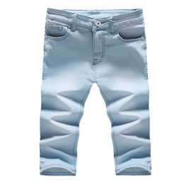 Wholesale Wholesale Clothing Skinny Jeans - Wholesale- BOLUBAO 2017 Men Short Jeans Brand Clothing Cotton Straight Calf-Length Pants Shorts Jean Casual Denim Summer Style